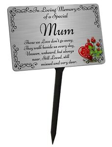 Mum Memorial Plaque & Stake. Brushed Silver Waterproof garden grave