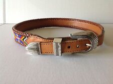 Vintage 1991 Brighton Beaded Western Leather Laced Belt Size 28 #65506