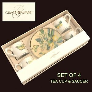 New Grace's Teaware Fine China Butterfly Moth Lemon SET OF 4 Tea Cups & Saucers