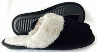NEW Black GENUINE Suede Fur lined Ladies SLIPPERS size 5-6 UK Seller