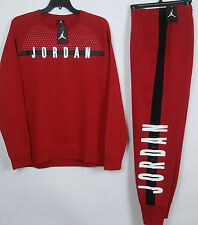 NIKE AIR JORDAN FLEECE SWEATSUIT CREW SWEATSHIRT + SWEATPANTS RED NWT (SIZE 2XL)