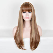 Fashion Long Blonde Mix Brown Bangs Straight Women's Lady's Hair Wig Wigs + Cap
