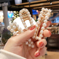 Women Hollow Pearl HairPin Hair Clip Snap Barrette Stick Hair Accessories Gift
