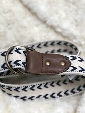 ~J Crew  Navy Blue White Cotton & Leather Textile Belt ~ S/M