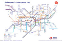 SHAKESPEARE'S UNDERGROUND MAP POSTER - 24x36 LONDON UK 3091