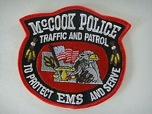 "McCook, NE Police ""Traffic & Patrol"" Shoulder Embroidered Patch -new"