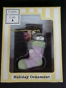 Comic and Curious Cats Ornament Cat in Christmas Stocking Enesco 4005346 MIB