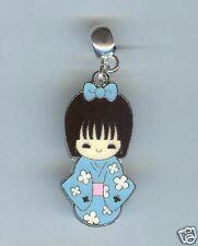 Japanese, Geisha GIRL, Blue Kimono Charm, Bead fits European Bracelets - F26