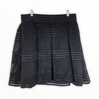 Torrid NWT Women's Size 1X 14/16 Striped Sheer Flared A-Line Skirt Black Stretch