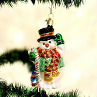 CHRISTMAS CANDY CANE SNOWMAN ORNAMENT BY (OLD WORLD CHRISTMAS) GLASS BEAUTIFUL