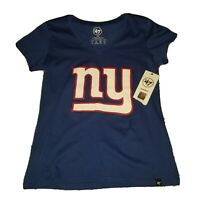 New York Giants NFL Team Apparel Women's Medium M V-Neck T Shirt '47 Brand NWT