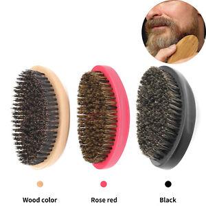 Mens Boar Hair Bristle Hard Round Wood Handle Beard Mustache Brush