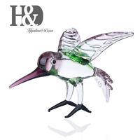 Hand Blown Mini Animal Art Glass Crystal Figurine Bird Sculpture Office Decor
