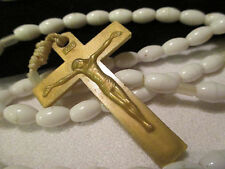Beautiful Vtg. light weight GOLD & white Beaded Rosary w/ Mary medal ~Free SHIP