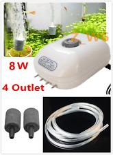 4 Outlet Adjustable Air Pump & Bubble Stone Disk Large Aquarium Fish Tank