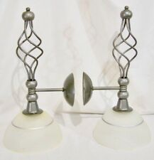 PartyLite Grand Paragon Wall Sconces SET Silver Metal Frosted Glass Shade P7775