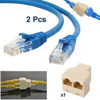 2x 3m RJ45 Cat5e Ethernet Network LAN Patch Cable + RJ45 Internet Lead Splitter