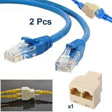 2x 1m RJ45 Cat5e Ethernet Network LAN Patch Cable + RJ45 Internet Lead Splitter