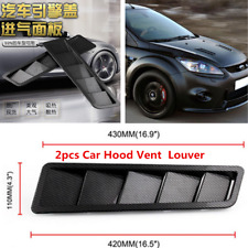 2x Universal Car Hood Vent Louver Air Cooling Panel Trim Carbon Fiber Look Style