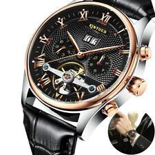 Reloj mecánico automático de cuero de Tourbillon del reloj de los hombres