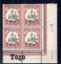 Togo 13 Bordure D'Angle Bloc de Quatre avec Inscription Neuf (B6072