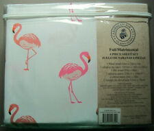 FULL FLAT & FITTED SHEETS & 2 PILLOWCASES - Pink Flamingo by Caribbean Joe -New!