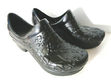 DANSKO Pixie EUR 38 US 7.5 8M Black Molded Clogs Platform Shoes