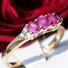 14k yellow gold ring 0.90ct ruby diamond size 6.25 vintage handmade 2.1gr N2339B