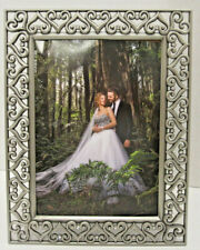 """5x7"""" Tabletop Antique Pewter Finish with Hearts Crystals Wedding Picture Frame"""