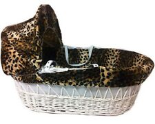 Isabella Alicia Born To Be Wild Cheetah White Maize Moses Basket RRP-£75.99