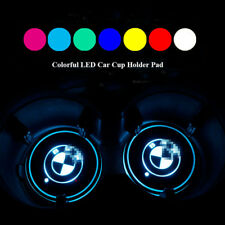 2PCS Car Cup Holder 7 Colors Led Light Pad Mat Interior Atmosphere for BMW Logo