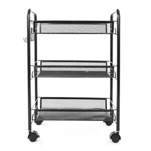 Mesh Storage Rolling Cart 3 Tier Shelf Trolley Home Office Organizer Dampproof