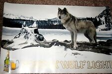 NOS Nordik Wolf Light Imported Beer Poster Sign Wall Hanging VTG BAR TAVERN BREW