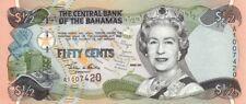 BAHAMAS. 50 CENTS QE11,, .2001,P-68,UNC BANKNOTES (R)