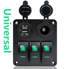 Universal 3 Gang Rocker Switch Panel Green LED Double USB for RV Car Marine Boat