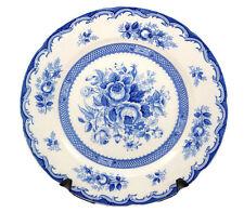 "Vintage Chathum Maruta Japan Kasuga Ware Floral Blue White Dinner Plate 10.5"""