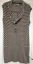 """Firetrap"" Women's Dress, Size M, Grey/Cream Striped, Cowl Neck, VGC"