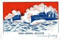 Antique WW1 printed postcard Find Admiral Jellicoe artist signed John Wells