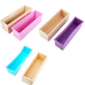 Home Wooden Soap Mold Wood Soap Mold Soft Silicone Linder Loaf Soap Mold DIY