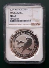 2004 Australia Kookaburra 1 oz 999 Silver coin NGC MS 69 - TONING