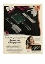 VINTAGE 1948 JEWELITE BY PRO-PHY-LAC-TIC COMB BRUSH MIRROR HAIR CARE  AD PRINT