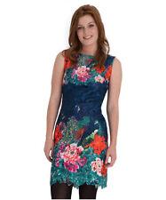 Boat Neck Tunic Floral Sleeveless Dresses for Women