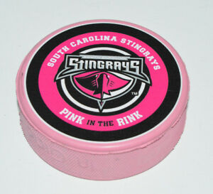 SOUTH CAROLINA STINGRAYS Pink in the Rink Cancer Logo ECHL COLORED HOCKEY PUCK