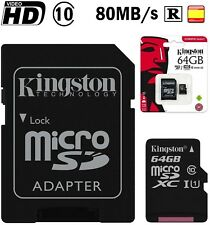 Tarjeta de memoria Micro SD 64GB Kingston memory card class 10 HD video 80mb/s