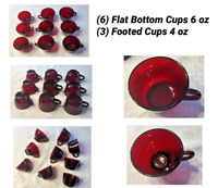 VINTAGE  Anchor Hocking  RUBY RED Glass Punch Bowl Cups 9-Piece Set