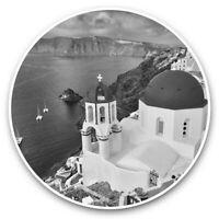 2 x Vinyl Stickers 10cm (bw) - Santorini Greece Greek Travel Beach  #43477