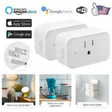 2X WiFi Smart Plug Works with Amazon Alexa - 3 prong Single Socket White USA