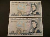 1973 PAIR PAGE FIVE POUNDS ABOUT UNCIRCULATED CONSECUTIVE DUGGLEBY B336 £5 NOTE