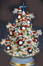 Ceramic Bisque Ready to Paint Penguin Tree with electric kit,  lights and star