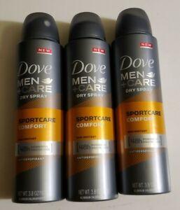 (3) Dove Men + Care Dry Spray Antiperspirant  SportCare Comfort 3.8oz Exp.12/21